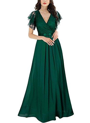 77102a6622e3b Miusol Women's Deep-V Neck Floral Sleeveless Wedding Bridesmaid Maxi ...