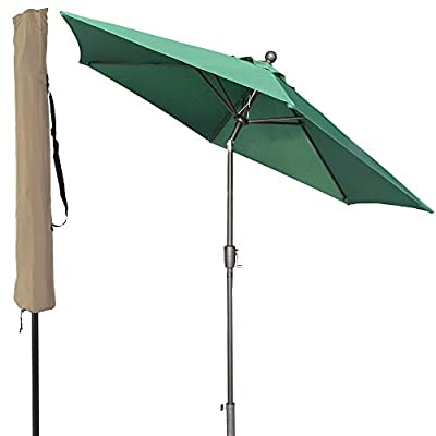 LCH 9 ft Outdoor Umbrella Patio Backyard Market Table Umbrella Sturdy Pole Push Button Easily Tilt Crank Umbrella Cover