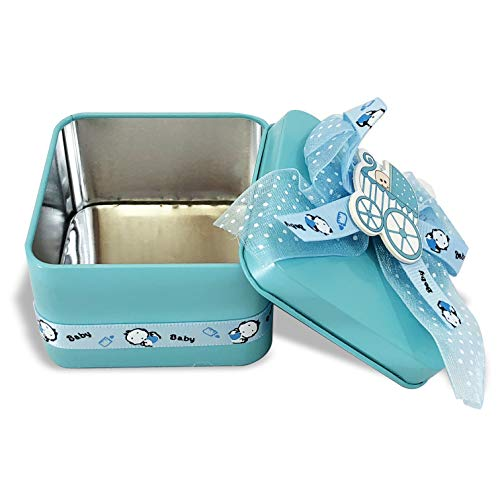 Allgala 12-PK Party Favor Container Square Tin Box, Baby Shower Blue with Bows and Stroller Decoration