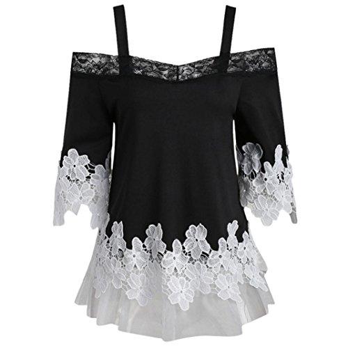 iYYVV Fashion Womens Open Shoulder Floral Applique Lace Mesh T-Shirt Camis (Floral Lace Mesh Bra)