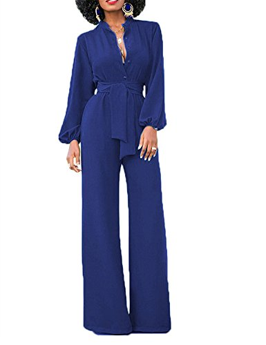 Belted Suit (Yuare Women's Sexy Solid Jumpsuits Fashion V Neck Buttons Wide Leg Long Sleeve Pockets High Waisted Belted Flare Romper Pants Size L Blue)