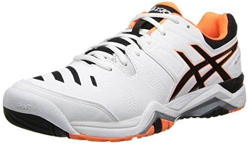 ASICS Men's Gel-Challenger 10 Tennis Shoe,White/Onyx/Flash Orange,14 M US (Challenger Gel Asics)