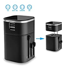 Travel Adapter - Badalink Travel Charger Universal Worldwide All-in-one Wall Charger Plug Safety Built-in 3.2A Dual USB Ports For Home Travel