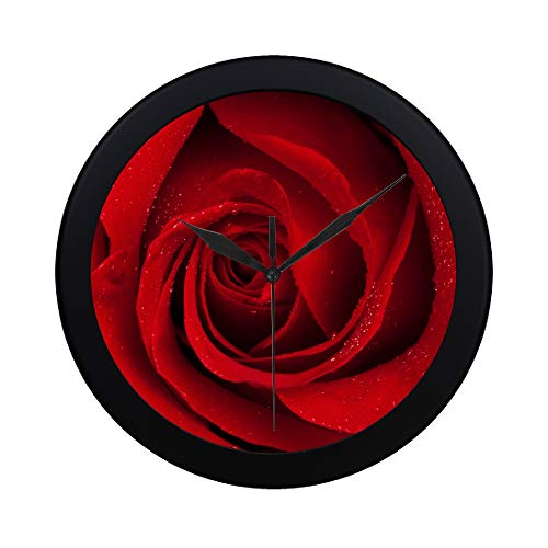 IIAKXNB Modern Simple Close Up Dark Red Rose with Water Pattern Wall Clock Indoor Non-Ticking Silent Quartz Quiet Sweep Movement Wall Clcok for Office,Bathroom,livingroom Decorative 9.65 Inch