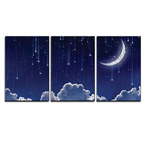3 Piece Canvas Wall Art - Crescent Moon with Bright Falling Stars Above The Clouds - Modern Home Art Stretched and Framed Ready to Hang - 24