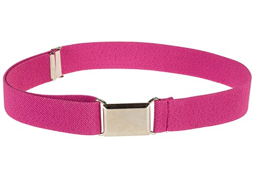 Kids Elastic Adjustable Strech Belt With Silver Square Buckle - Fushia