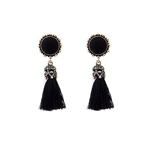 - Napoo Vintage Style Rhinestones Crystal Tassel Dangle Stud Earrings Jewelry (Black)