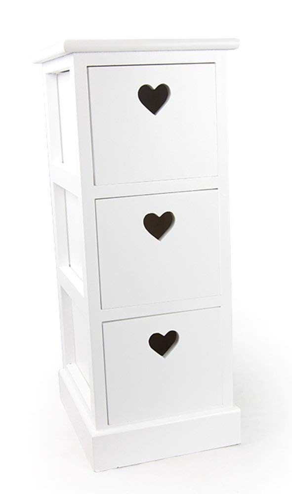 White Wood Storage Unit Drawers With Heart Cut Out Sue Ryder