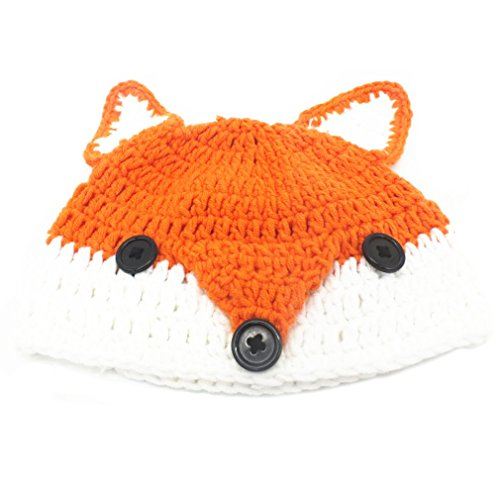 BIBITIME Handmade Knit Fox Beanie With Ears Hat Fun Cosplay Cap For Adult or Kid (Kids-Orange, Reference)
