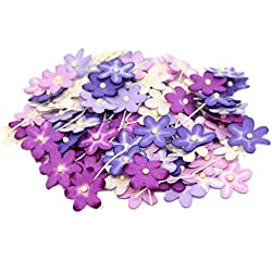 70 Paper Flowers for Scrapbooking, Cardmaking, Wedding Decor, Favors (Lilac Shades)