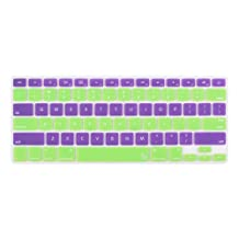 """Case Star ® Soft Silicone Keyboard Cover Skin for Newest 13"""" 15"""" 17"""" RETINA Apple MacBook Pro Aluminum Unibody (Black Keys, WITHOUT DVD Rom, 13-inch 15-inch 17-inch Diagonal Screen) (Hero-Dual, Purple and Light Green)"""