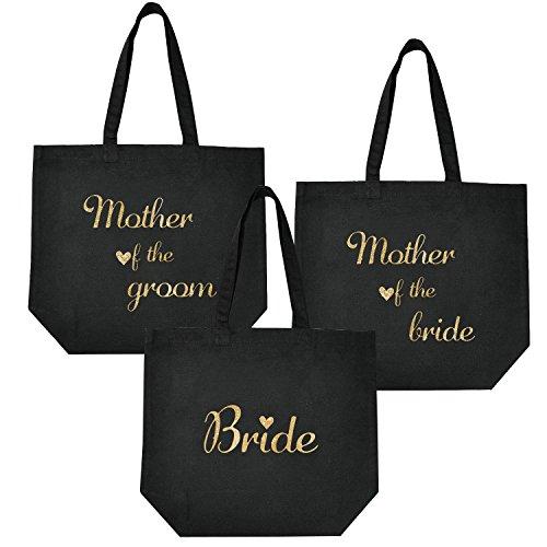 ElegantPark Bride Tote Bag + Mother of (Bride+Groom) Tote Bags Set for Wedding Favors Bridal Shower Bag Black with Gold Glitter 100% Cotton 3 PCS