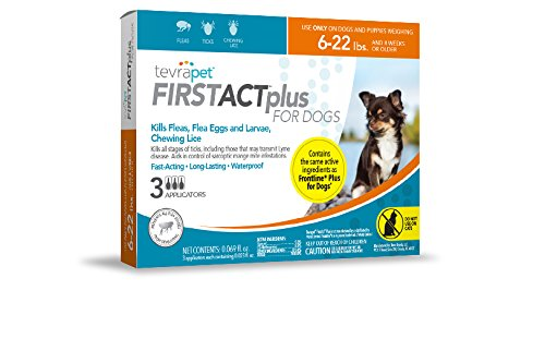 TevraPet FirstAct Plus Flea and Tick Topical for Dogs 6-22 Pounds, 3 - First Shield Trio