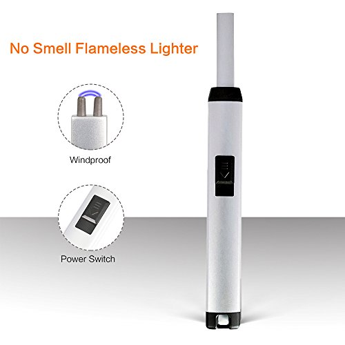Electric Arc Atomic Candle Lighters, Kosie USB Rechargeable Lighter Li-ion Battery Operated No Smell Flameless Windproof Auto Power off Safety Switch Lighter for Gas Stove Camping Firework BBQ Grill by Kosiehouse (Image #1)