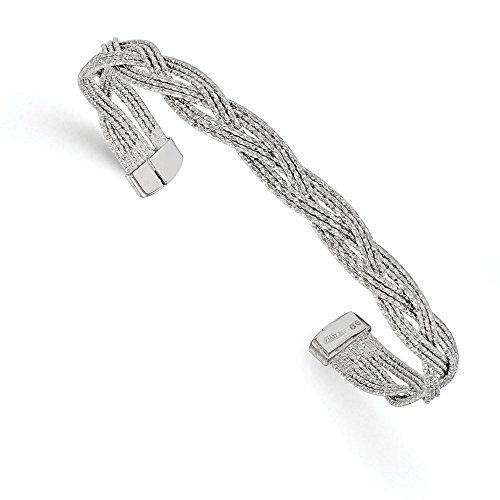 En argent sterling 925Vernis texturé Bracelet jonc tressé flexible