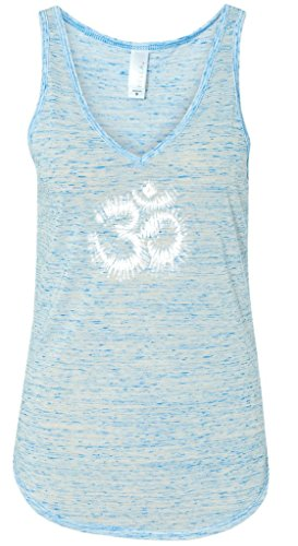 Yoga Clothing For You Ladies TIE DYE OM Flowy Tank Top, Large Blue Marble