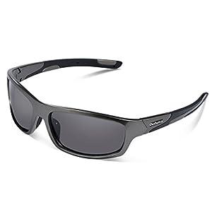 Duduma Polarized Sports Sunglasses for Men Women Baseball Running Cycling Fishing Driving Golf Softball Hiking Sunglasses Unbreakable Frame Du645(Silver gray frame with black lens)