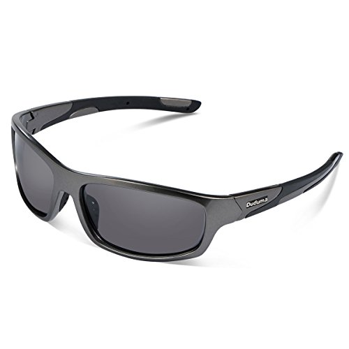 Duduma Polarized Sports Sunglasses for Men Women Baseball Running Cycling Fishing Driving Golf Softball Hiking Sunglasses Unbreakable Frame Du645(Silver gray frame with black lens)