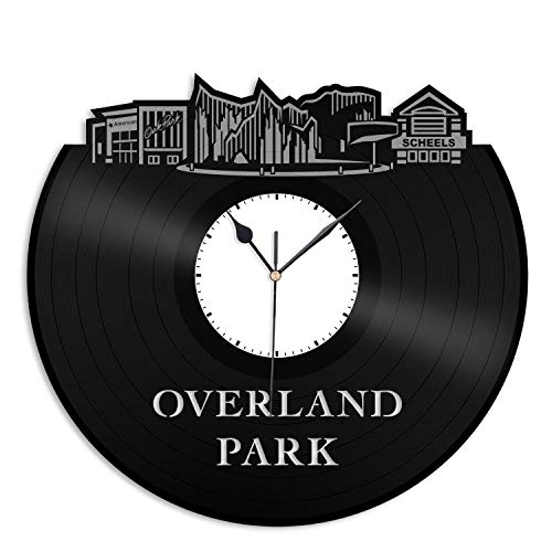VinylShopUS - Overland Park KS Vinyl Wall Clock City Skyline Cityscape Record Souvenir Unique Gift for Friends Men Women Office | Anniversary Home Room Decoration]()