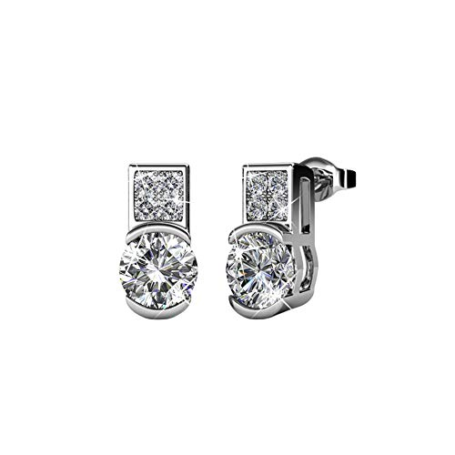 Cate & Chloe Laya Ruler 18k White Gold Earrings with Swarovski Crystals, Crystal Cluster Silver Dangling Stud Earring Set w/Solitaire Round Cut Diamond Crystals Fashion Statement Jewelry