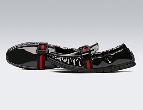 HWF Scarpe Uomo in Pelle Primavera scarpe da uomo in pelle piselli scarpe pelle luminosa stile britannico scarpe casual marea pigro (Colore : Nero, dimensioni : EU39/UK6) Nero