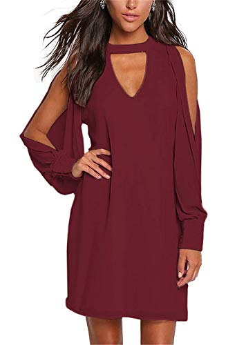 (PWIHXHEN Women Casual Loose Fit Chocker V Neck Split Long Sleeve Tunic Dresses (Wine Red, Large))