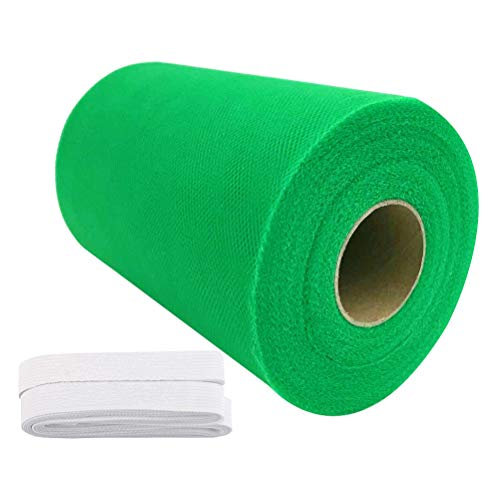 Tulle Roll Spool 6 Inch x 100 Yards (300FT) Wedding Party Decoration,Tutu Skirts with Elastic Band by RayCC (Green Colour)