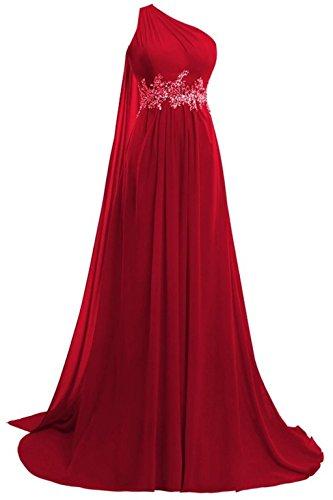 Formelle Abendkleider Dark Ball Red Lang Kleider Kleider Damen One Shoulder Red Fanciest Chiffon 2016 w7qz8XnT