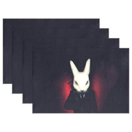 (Promini Heat-Resistant Placemats, Cool Abstract Bunny Washable Polyester Table Mats Non Slip Washable Placemats for Kitchen Dining Room Set of)