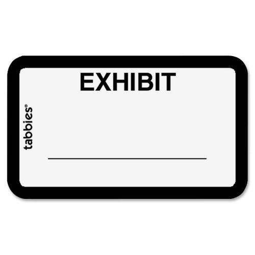 "Tabbies Tabbies Color-coded Exhibit Labels - 1.62"" Width x 1"" Length - 252 / Pack - White"