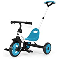 LITTLE TIGER 3 WHEEL 2 IN 1 KIDS CHILDREN TRIKE TRICYCLE WITH REMOVABLE PARENTS PUSH HANDLE BAR (BLUE)