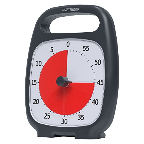 """Time Timer TTP7-W TTP7-W Plus 60 Minute Visual Analog Timer; Optional Alert (Volume-Control Dial); Silent Operation (No Ticking); 5.5"""" Wide x 7"""" Tall; Time Management Tool; Charcoal by Time Timer (Image #11)"""