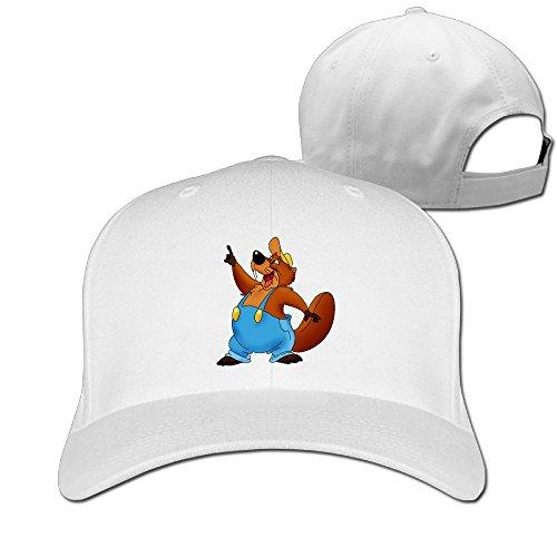 Aiguan Cartoon Beaver Cap - Classic 100% Cotton Hat White
