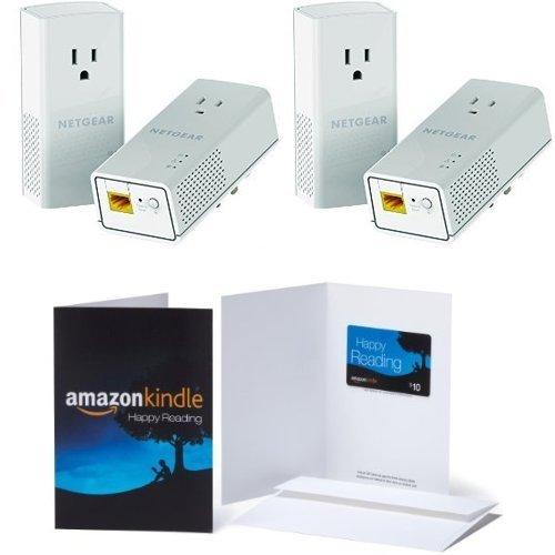 2-Pack of NETGEAR Powerline 1200 + Extra Outlet (PLP1200-100PAS) & 1 $10 Amazon.com Gift Card Bundle by NETGEAR