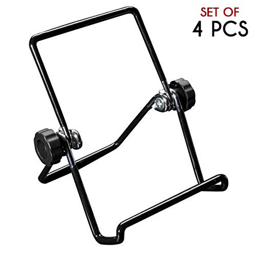 Easall | 4pcs Multi Purpose Small Portable Easel Stand Display, Heavy Duty Vinyl Coated Wire, Nonslip Nonscratch, Selectable Viewing Angles, Book Picture iPad Smartphone Kindle Art Collection Stand