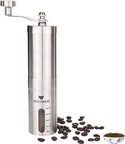Manual Coffee Grinder with Conical Burr - Hand Burr Coffee Grinder with Adjustable Setting - Vescoware Stainless Steel Portable Mill for Espresso, French Press, Drip Coffee, Cold and Turkish Brew (Pour Over Coffee Maker Vs French Press)