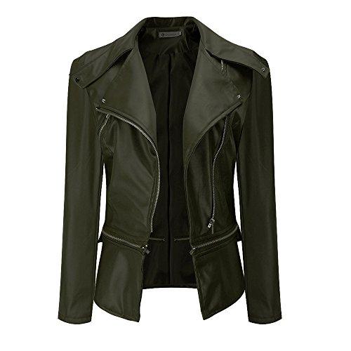 VESNIBA Winter Warm Women Faux Collar Coat Leather Jacket Parka Overcoat Outwear
