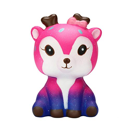 Matoen Kawaii Cartoon Galaxy Deer Squishy Slow Rising Cream Scented Stress Reliever Cosmic Starry Sky Deer Decompression Toy Rebound Toy (A, AS Show) ()