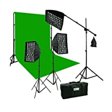 ePhoto Large 10 x 20 CHROMAKEY Green Muslin Backdrop Support Stands and 2400 Watt 3 Beehive Eggcrate Honeycomb Softbox photography Boom Hair lighting Kit Case HGD2-1020G