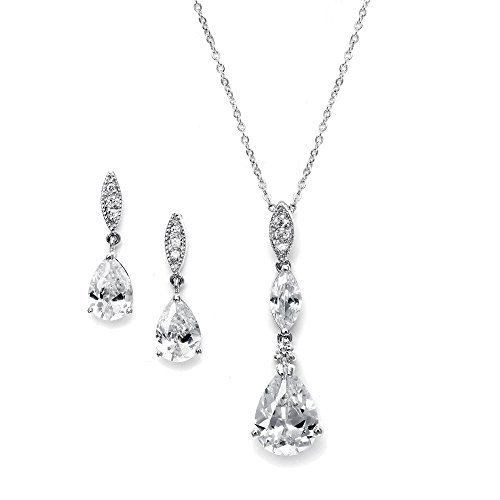Mariell Platinum Plated Pear-Shaped CZ Bridal, Bridesmaids or Prom Necklace and Earring Set -