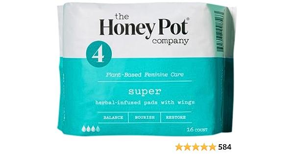 La compañía Honey Pot - Almohadillas Menstruales Infundidas Con Hierbas Con Alas Super - 16Pad(s)