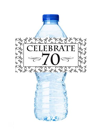 CakeSupplyShop Item#45340- 24pack Celebrate 70 (70th Birhtday) Party Decorations Water Bottle Stickers Labels