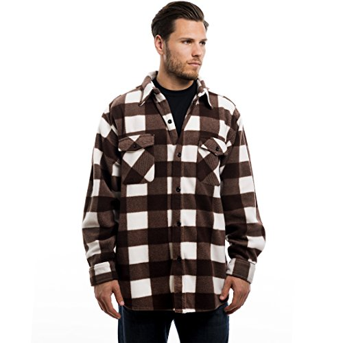 Trailcrest men's long sleeve button down shirt, comfortable and classic plaid, color brown, size - Shirt Over Fleece