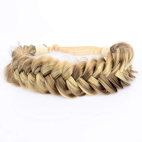 BOBIYA Messy Wide 2 Strands Synthetic Hair Braided Headband Classic Chunky Plaited Braids Elastic Stretch Hairpiece Women Girl Beauty Boho accessory, 62g (Highlighted)
