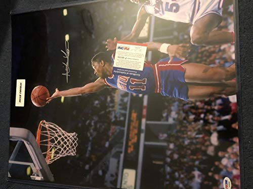 Isiah Thomas Autographed Signed 16x20 Auto Detroit Pistons PSA/DNA Autographed Signed Leaf Treasury
