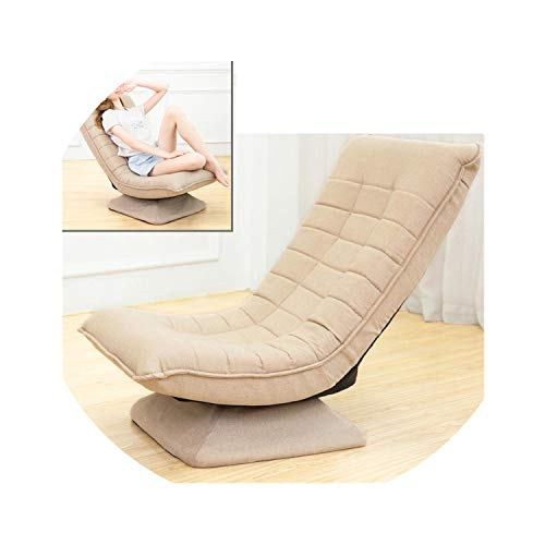 - 360 Degree Rotatable Adjustable Sofa Lazy Chaise Lounge Chair Living Room Bedroom Foldable Soft Leisure Chair,Khaki