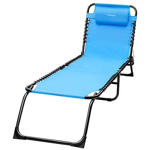 HOMEMAXS Lounge Chair Chaise Folding and Adjustable Zero Gravity Chair Heavy Duty Supports 300lbs Patio Lawn Chair with Removable Pillow for Outdoor Beach Pool Patio