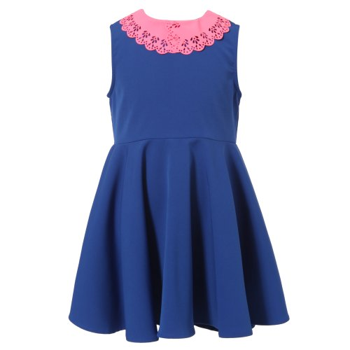 B Fancy Dress (Richie House Girls's Dress With Fancy Contrasted Collar RH1656-B-5/6)