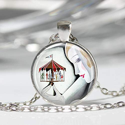 Sunshine Art Deco Jewelry, Woman with Carousel Merry Go Round, Dome Glass Ornaments, Gifts for her