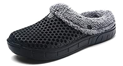 eeb21ee19c40e Image Unavailable. Image not available for. Color: YOOEEN Clogs Mules Garden  Shoes Men Women Slip On Fur Lined Warm Winter Slippers Breathable Walking